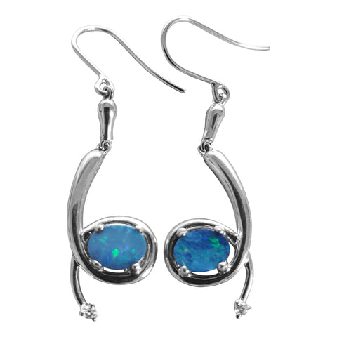 Opal Earrings with Cz accent