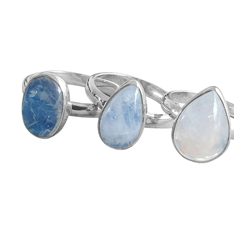 Blue Moonstone Silver Rings