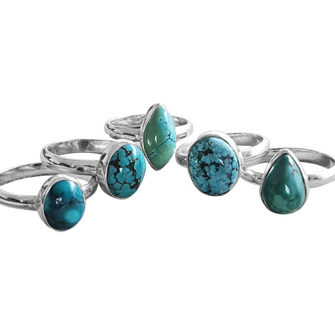 Turquoise Multi-shaped Rings