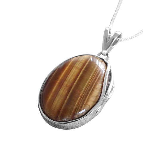 Overlaid Tiger's Eye Pendant and Chain