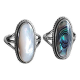Mother of Pearl or Paua Shell Braided Ring
