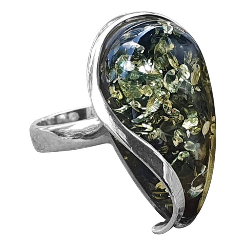 Green Amber Myriad Ring