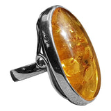 Elongated Cognac Amber Ring