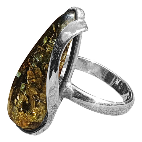 Green Amber Scroll Ring