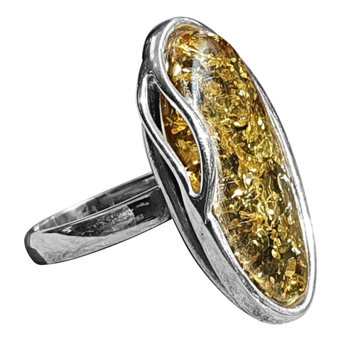 Green Amber Dewdrop Ring