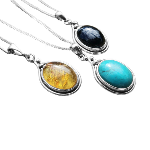 Gemstone Pendants with Amber, Turquoise, Black Onyx