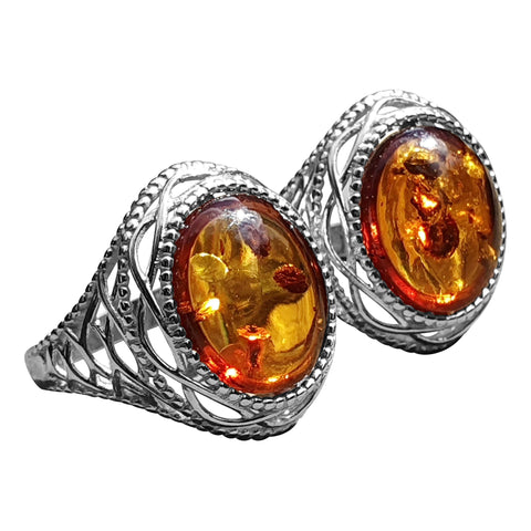 Baroque Style Amber Ring