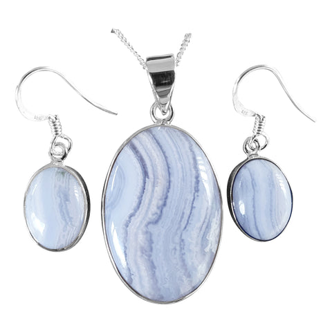 Blue Lace Agate Pendant and Earrings