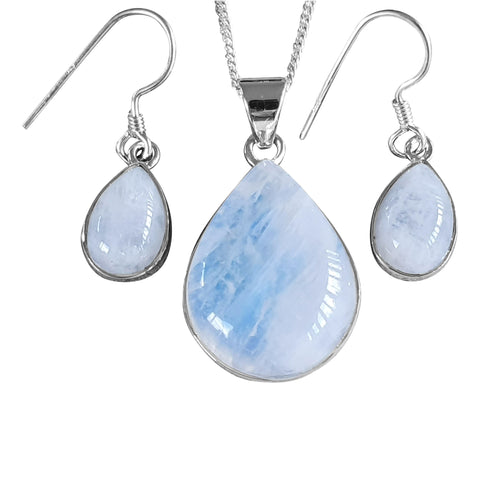 Blue Moonstone Pendant and Earrings