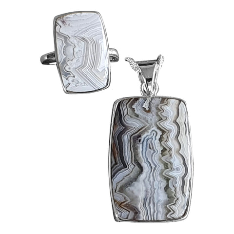 Oblong Crazy Lace Agate Pendant and Ring