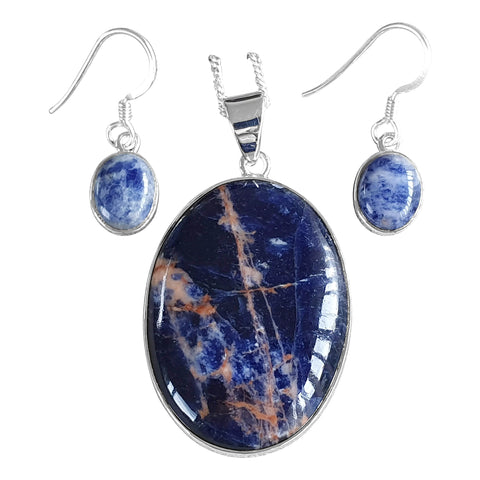 Sodalite Oval Pendant and Earrings
