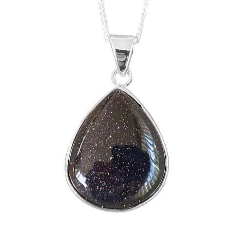 Blue Goldstone Teardrop Pendant and Chain