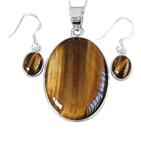 Tigers Eye Pendant and Earrings