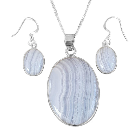 Comet Blue Lace Agate Pendant and Earrings