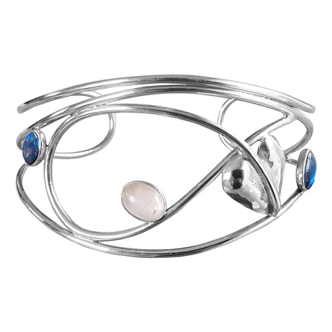 Foliate multi-stone Silver Bangle