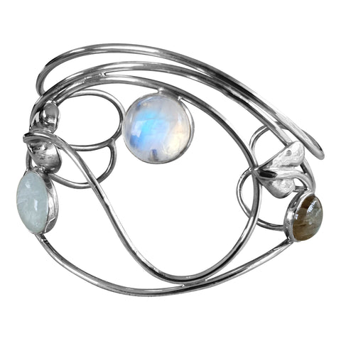 Rythmic Multi-stone Silver Bangle