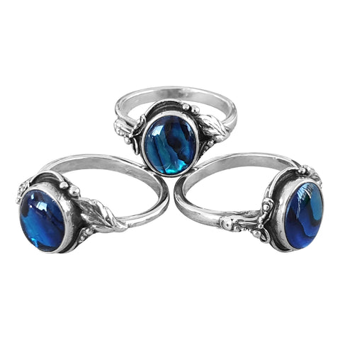 Blue Paua Shell Foliage Ring
