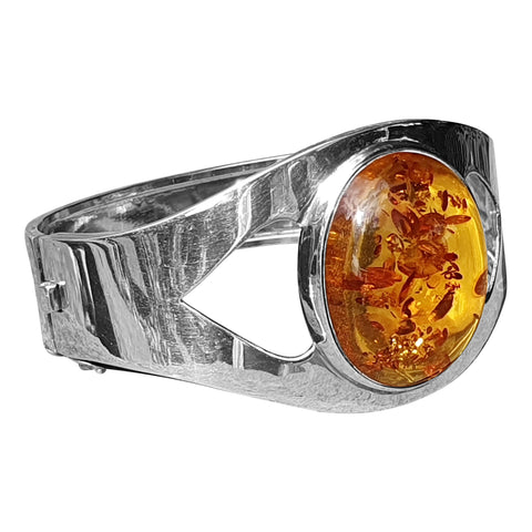 Heavy Cognac Amber Bangle