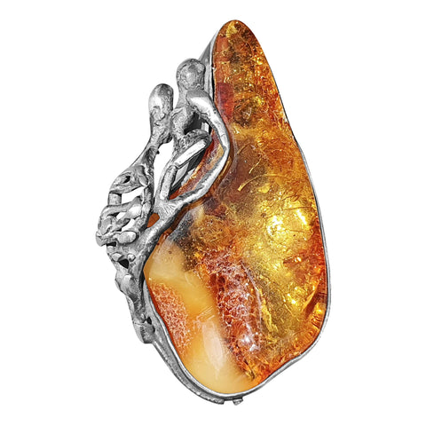 Naturally Shaped Amber Ring