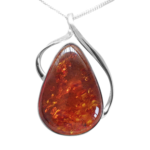 Amber Organic Pendant and Chain