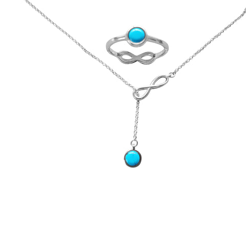 Infinity Turquoise Lariat Necklace and matching Ring