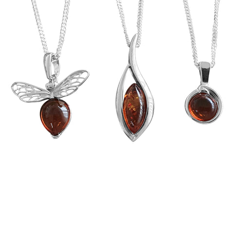 Delicate Amber Pendants with Chains