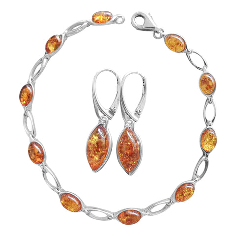 Harvest Amber Bracelet and Earrings