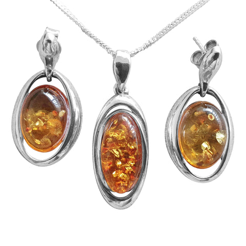 Amber Glow pendant and Earrings