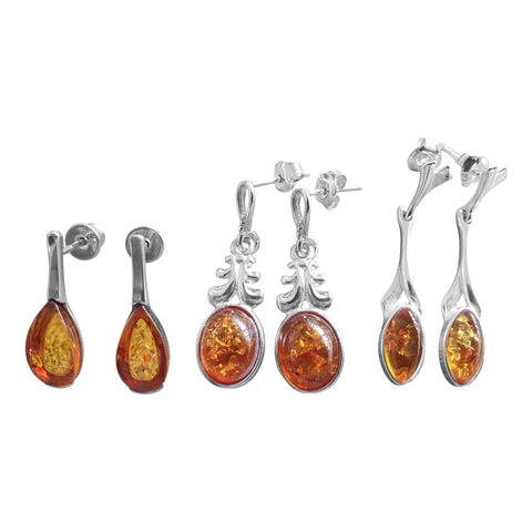 Cognac Amber Dangling Earrings