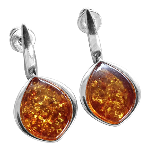 Elegant Cognac Amber Earrings