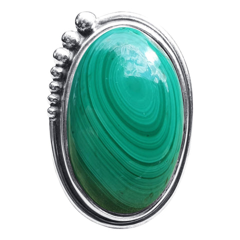 Large Malachite Silver Beaded Ring