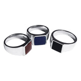 Square Men's Signet Ring with Stone