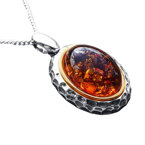 Silver Gold Rimmed Amber Pendant
