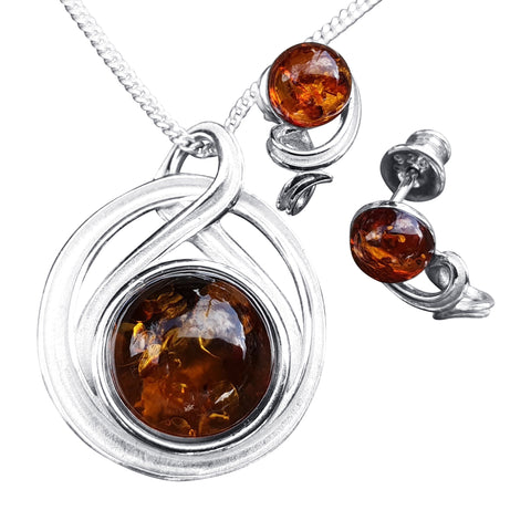 Celtic Style Amber Pendant and Studs