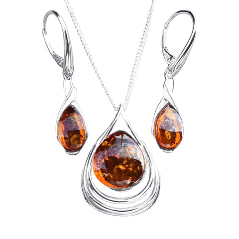Helix Amber Pendant and Earrings