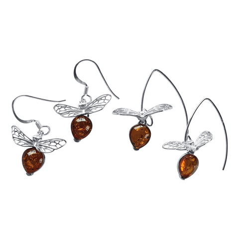 Flying Bee Silver Earrings