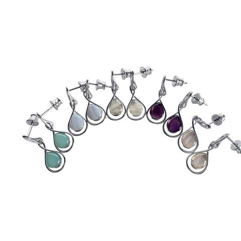 Gemstone Swoop Earrings