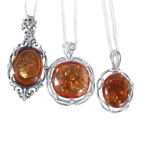 Intricate Amber Pendants