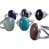 Gemstone Parted Silver Ring