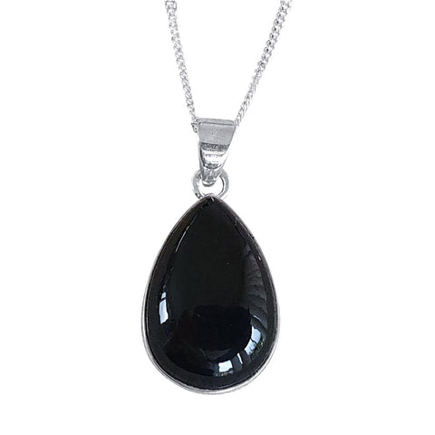 Jet Teardrop Pendant and Chain