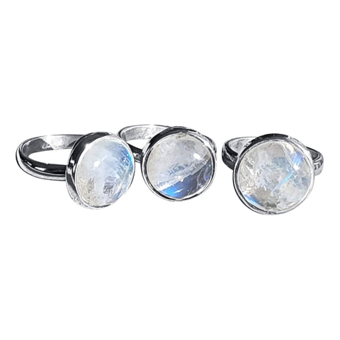 Round Moonstone Silver Rings