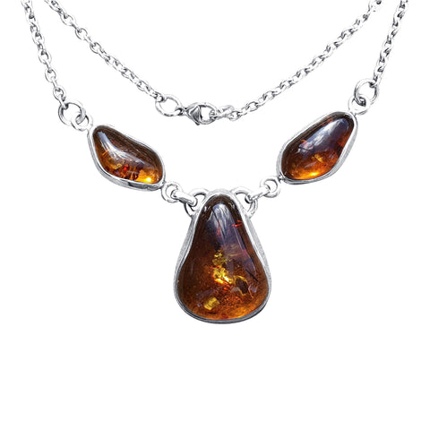 Triple  Stone Amber Necklace.