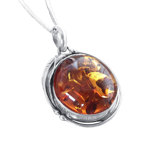 Leaf Embelished Amber Pendant