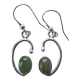 Swirl Drop Siver Gemstone Earrings