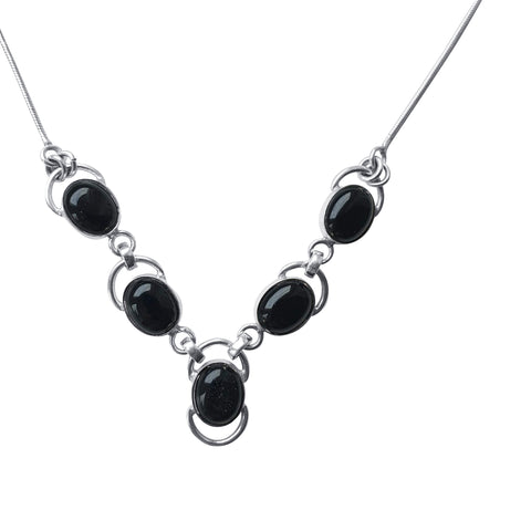 Black Onyx Silver Loop Necklace