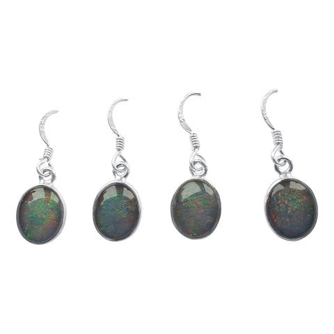 Opal Cabochon Silver Earrings