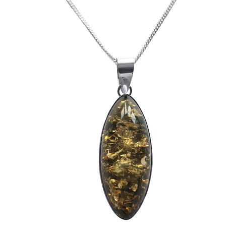 Marquise Green Amber Pendant and chain