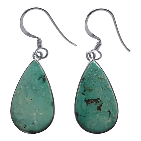 Flat Cabochon Turquoise Earrings