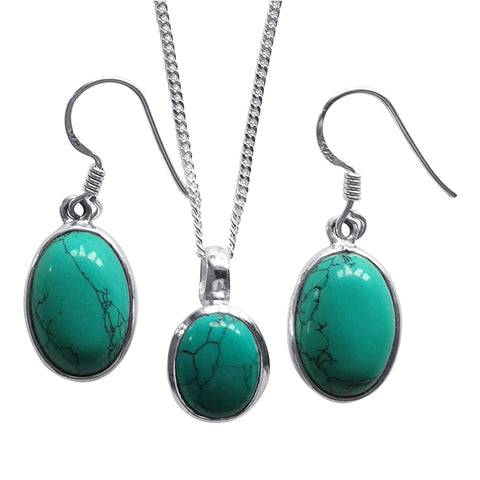 Delicate Turquoise Earrings and Pendant