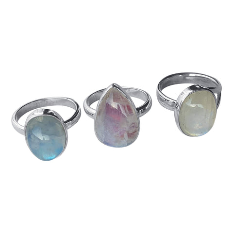 White, Pink , Blue Moonstone Rings